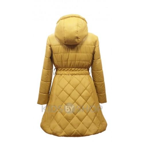 """EGORKA, пальто весна-осень """"Красотка"""" горчица 128-152"""