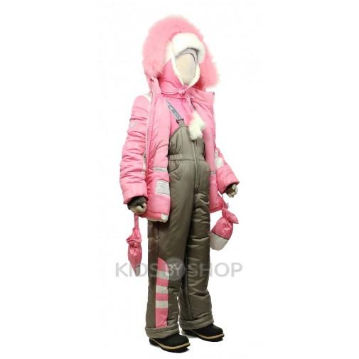 """EGORKA, зимний комплект """"Снежинка"""" розовый 98-128"""