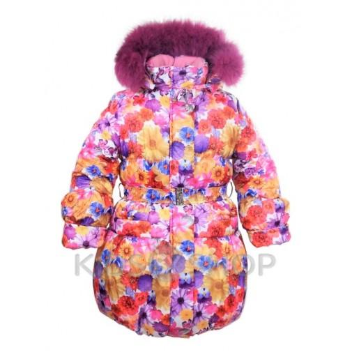 "EGORKA, зимнее пальто ""Цветы"" 104-128"