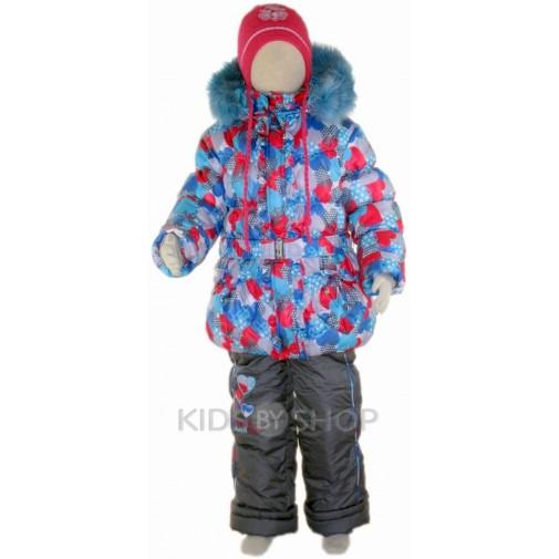 "SEVKA, зимний комплект ""Cердечки"" голубой, размеры 86-104"