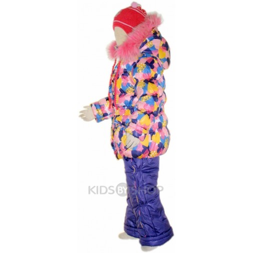 """SEVKA, зимний комплект """"Cердечки"""" розовый, размеры 86-104"""