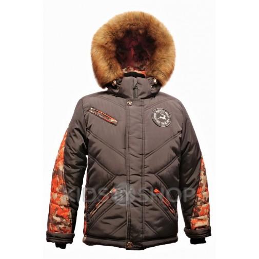 """TOMAS, зимняя куртка """"Полюс"""" кофе-оранжевый 128-146"""