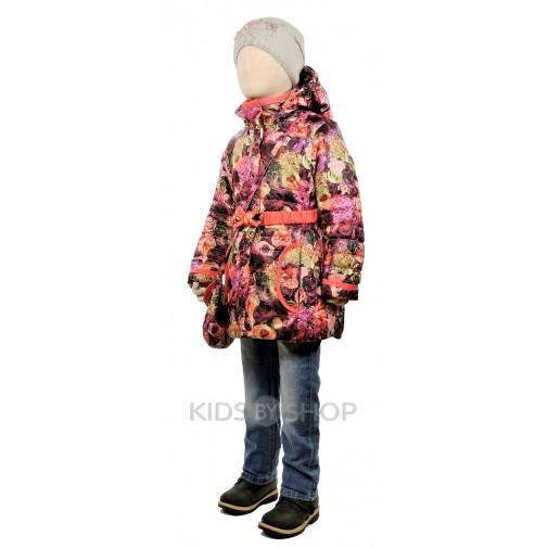"""TOMAS, куртка весна-осень """"Розы"""" бордо-розовый 116-128"""