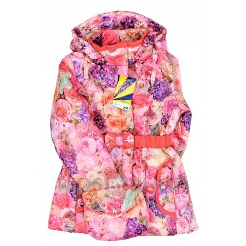 """TOMAS, куртка весна-осень """"Розы"""" розовый 116-128"""