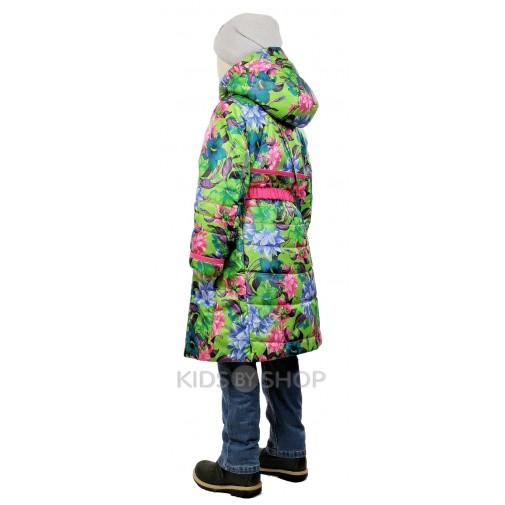 """TOMAS, пальто весна-осень """"Цветок"""" зелёный-розовый 92-134"""