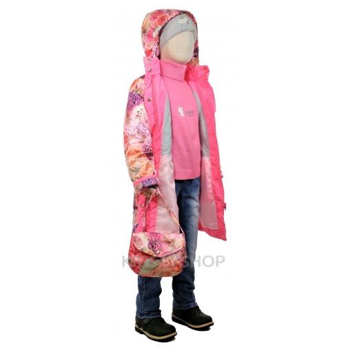 """TOMAS, пальто весна-осень """"Цветок"""" розовый 92-134"""