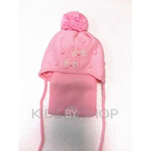 """Шапка+шарф """"2 банта"""" розовый 44-46"""