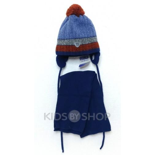 """Шапка+шарф """"AGBO"""" синий 50-52"""