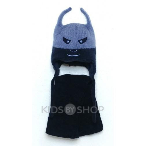 """Шапка+шарф """"Бэтмен"""" голубой 44-46"""