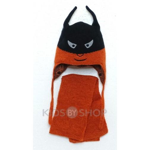 "Шапка+шарф ""Бэтмен"" оранж 44-46"