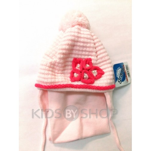 """Шапка+шарф """"Букле"""" розовый 48-50"""
