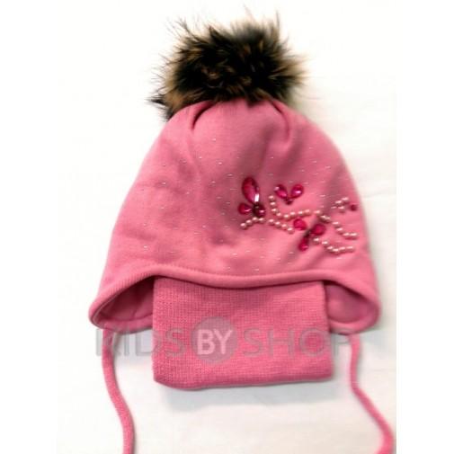 "Шапка+шарф ""Бусы"" розовый 52-54"