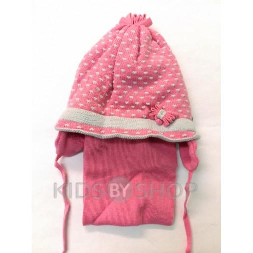 """Шапка+шарф """"Горох"""" розовый 48-50"""