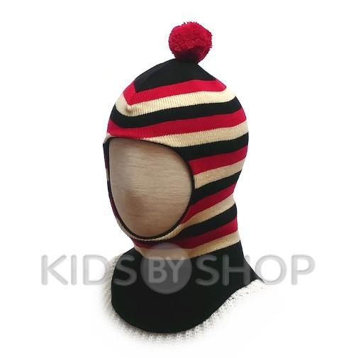 """Шапка-шлем """"Полоска"""" черный-красный GRUMAR, 44-46"""