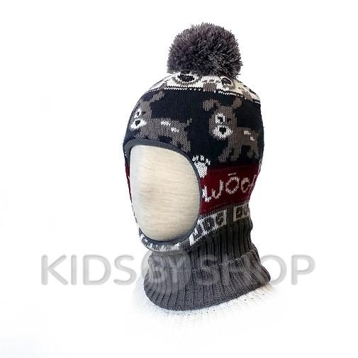 "Шапка-шлем ""Собачки"" бордо KOLAD, 46-48"