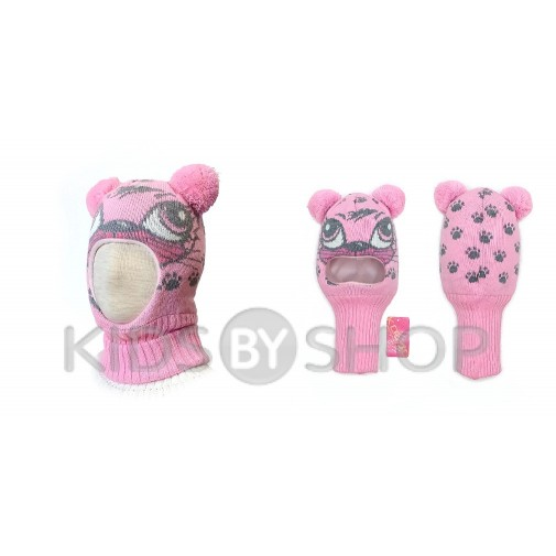 "Шапка-шлем  ""Кошка"" розовый KOLAD, 46-48"