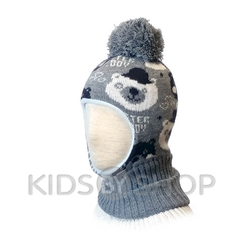 "Шапка-шлем ""Мишки"" серый KOLAD, 46-48"