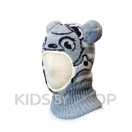 """Шапка-шлем """"Панда""""  серый KOLAD, 46-48"""