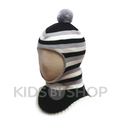 """Шапка-шлем """"Полоска"""" черный GRUMAR, 44-46"""