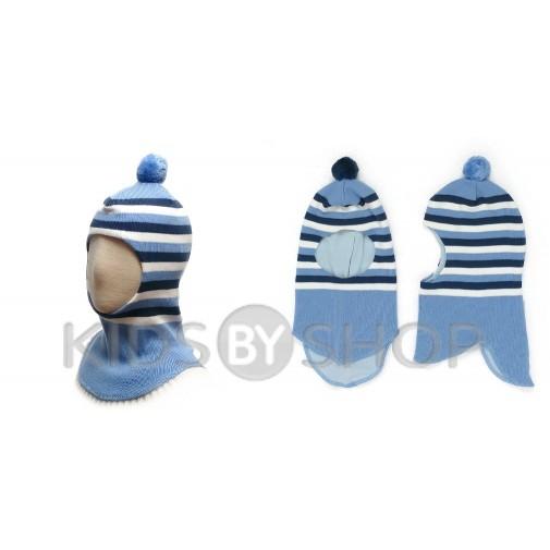 """Шапка-шлем """"Полоска"""" голубой GRUMAR, 48-50"""