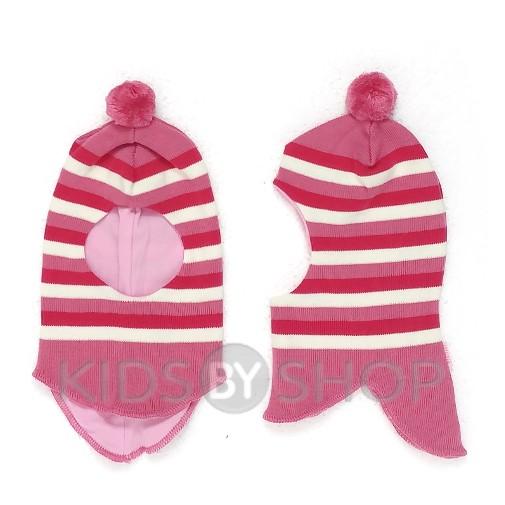 """Шапка-шлем """"Полоска"""" розовый GRUMAR, 44-46"""