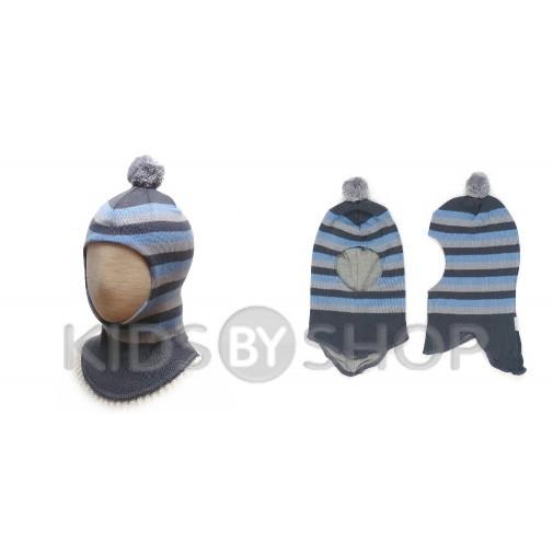 """Шапка-шлем """"Полоска"""" серый-голубой GRUMAR, 44-46"""
