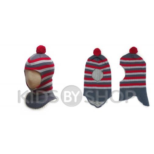 """Шапка-шлем """"Полоска"""" серый-красный GRUMAR, 44-46"""