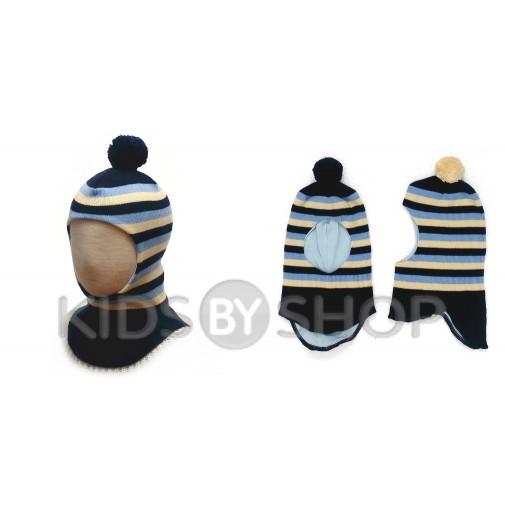 """Шапка-шлем """"Полоска"""" синий-голубой GRUMAR, 44-46"""